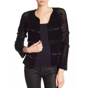 NWT Joie Jacquine Embellished Crochet Cardigan L